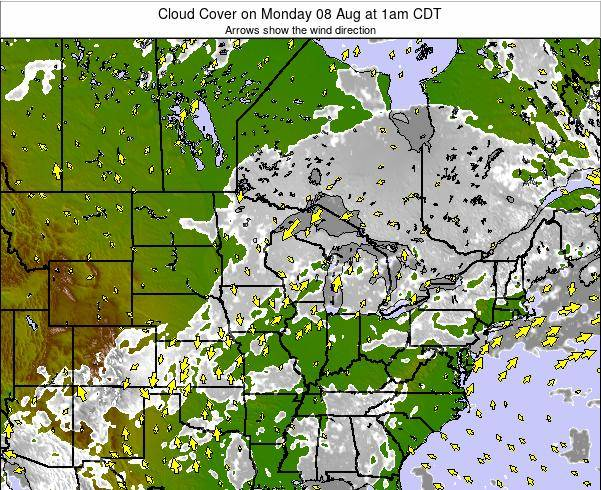 Wisconsin Cloud Cover on Monday 28 Apr at 7am CDT