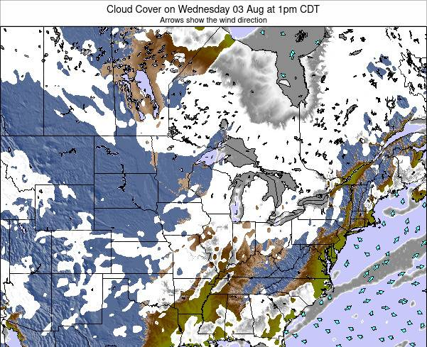 Michigan Cloud Cover on Wednesday 29 May at 7am CDT