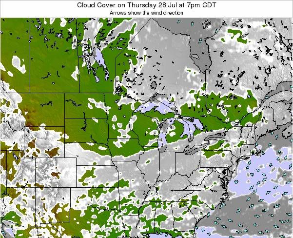 Wisconsin Cloud Cover on Monday 16 Dec at 6pm CST