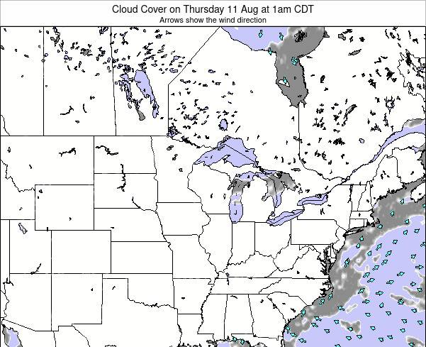 Wisconsin Cloud Cover on Wednesday 29 Jun at 1pm CDT