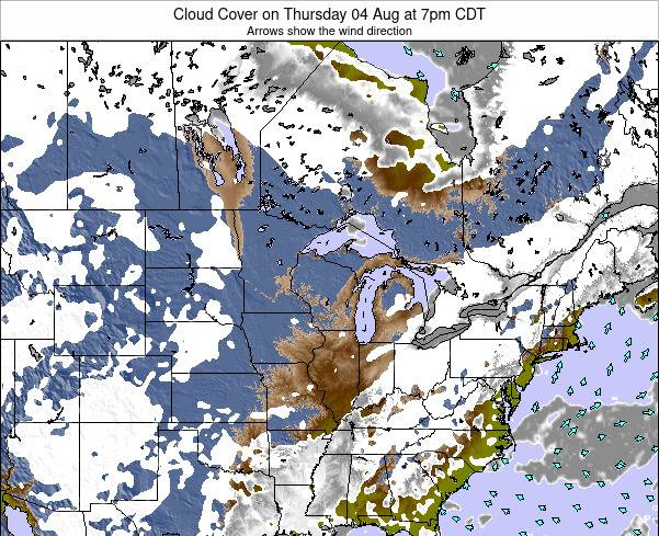 Wisconsin Cloud Cover on Sunday 14 Feb at 12am CST