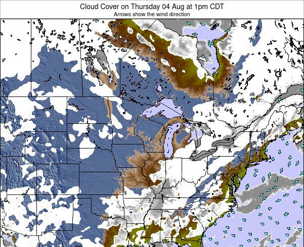 Wisconsin Cloud Cover on Wednesday 24 Oct at 7am CDT map