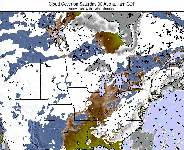 Minnesota Cloud Cover on Sunday 27 Apr at 1pm CDT