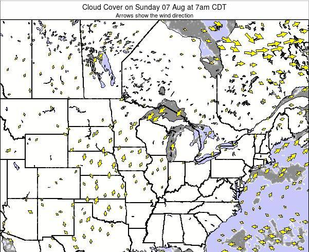 Minnesota Cloud Cover on Friday 13 Dec at 12pm CST