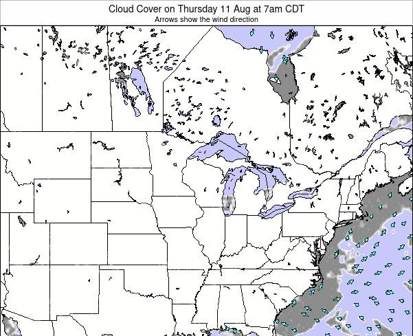 Minnesota Cloud Cover on Wednesday 23 Apr at 1am CDT