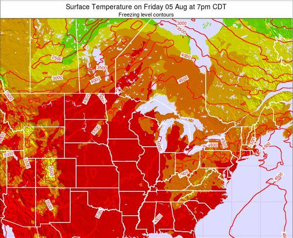 Minnesota Surface Temperature on Tuesday 18 Jun at 7pm CDT