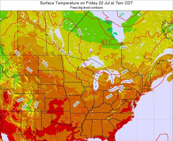 Wisconsin Surface Temperature on Tuesday 25 Jun at 7am CDT