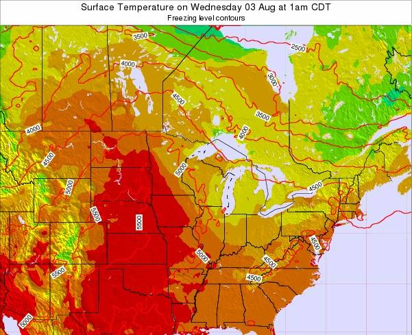 Michigan Surface Temperature on Wednesday 29 May at 1am CDT