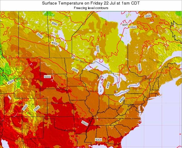 Michigan Surface Temperature on Monday 27 May at 7am CDT