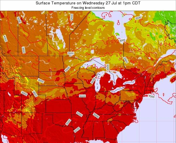 Michigan Surface Temperature on Tuesday 25 Jun at 1pm CDT
