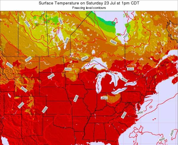 Minnesota Surface Temperature on Tuesday 21 May at 7pm CDT