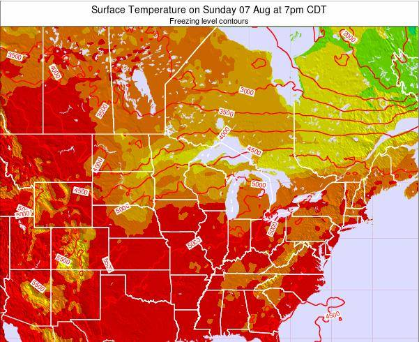 Wisconsin Surface Temperature on Saturday 25 May at 1pm CDT