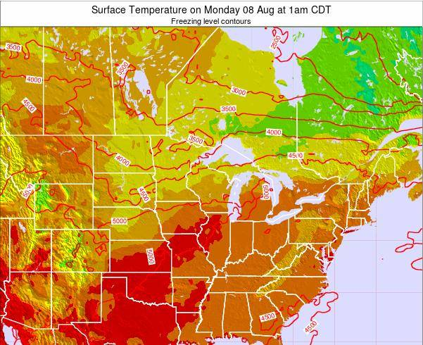 Michigan Surface Temperature on Thursday 20 Jun at 7pm CDT