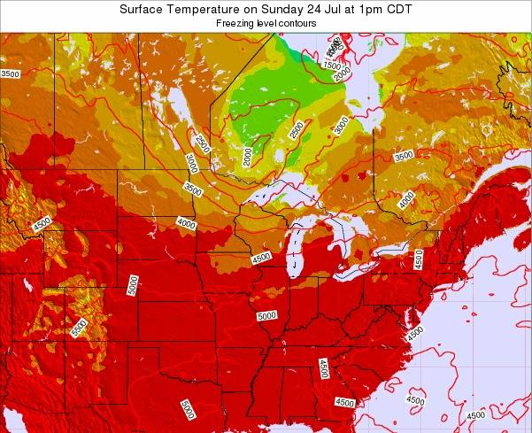 Wisconsin Surface Temperature on Friday 24 May at 1pm CDT