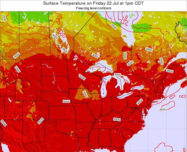 Wisconsin Surface Temperature on Sunday 26 May at 1pm CDT