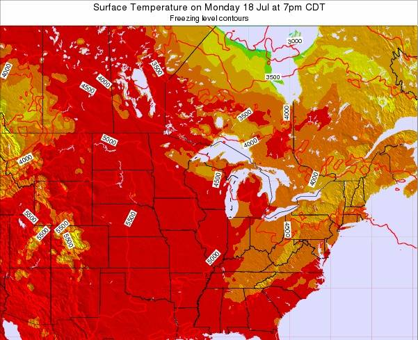 Wisconsin Surface Temperature on Thursday 23 May at 1pm CDT