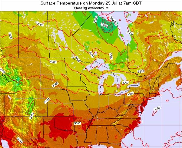 Michigan Surface Temperature on Saturday 22 Jun at 1am CDT