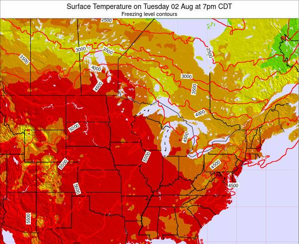 Michigan Surface Temperature on Thursday 23 May at 1pm CDT