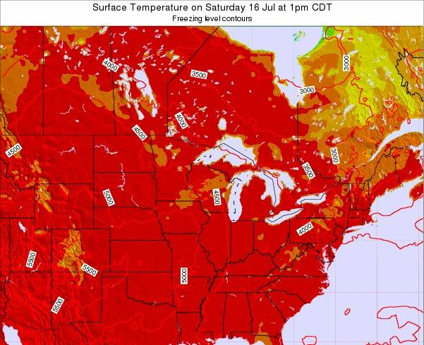 Michigan Surface Temperature on Tuesday 28 May at 1pm CDT