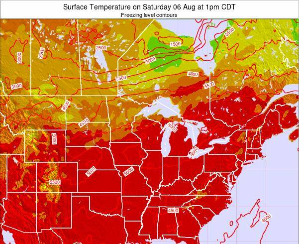 Wisconsin Surface Temperature on Tuesday 28 May at 7pm CDT