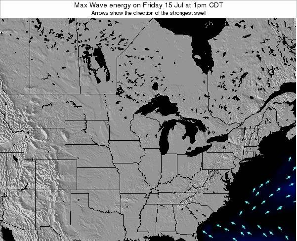 Michigan Max Wave energy on Sunday 24 Mar at 7am CDT map