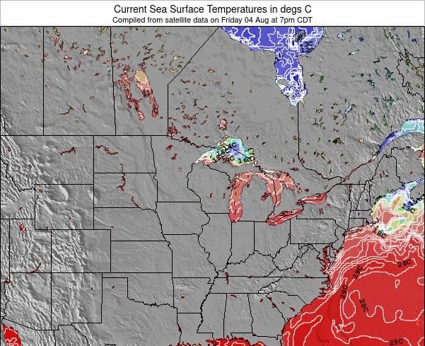 Wisconsin Température de la Mer Carte