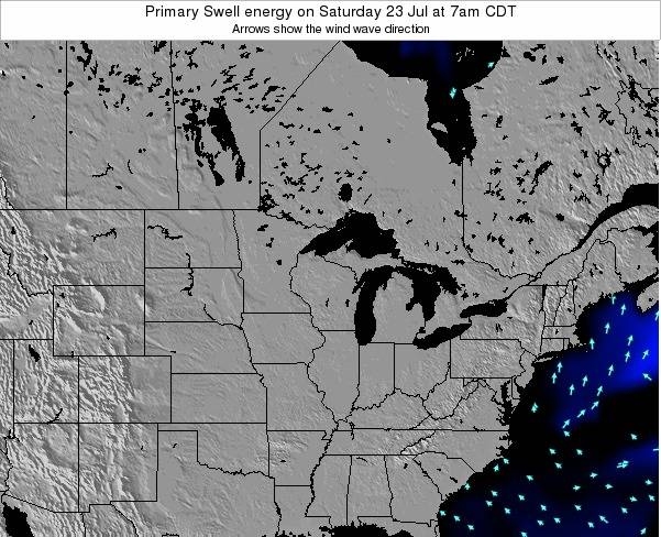 Wisconsin Primary Swell energy on Sunday 21 Apr at 1pm CDT map