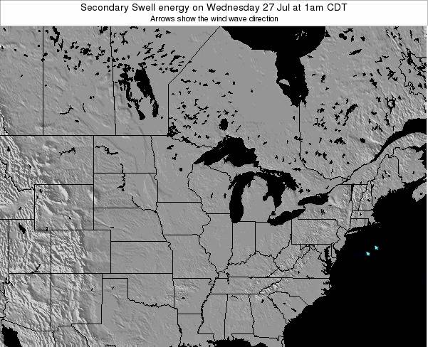 Wisconsin Secondary Swell energy on Sunday 27 Jul at 1am CDT