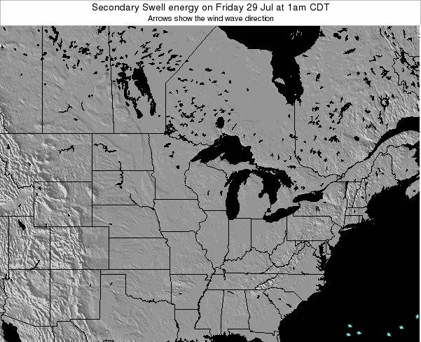 Wisconsin Secondary Swell energy on Saturday 28 May at 1pm CDT