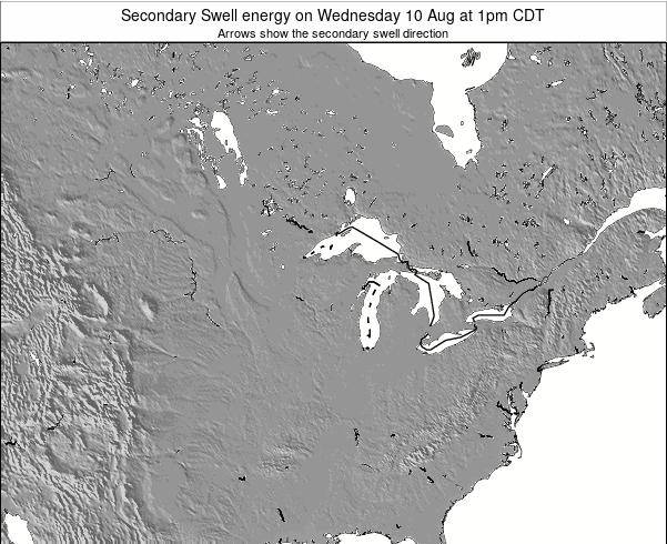 Wisconsin Secondary Swell energy on Thursday 06 Aug at 1pm CDT