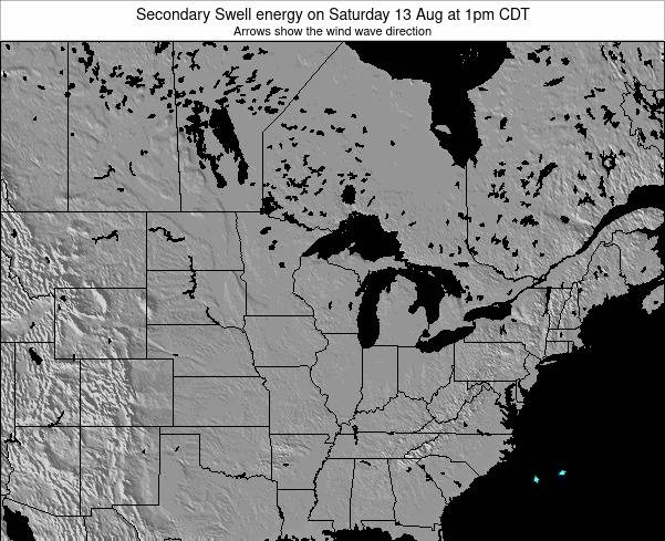 Wisconsin Secondary Swell energy on Tuesday 05 Aug at 1am CDT