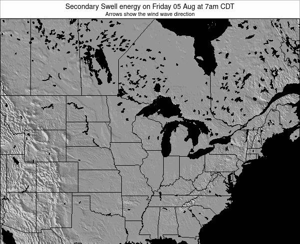 Wisconsin Secondary Swell energy on Wednesday 23 Apr at 7am CDT