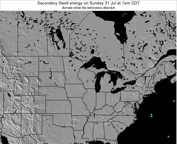Wisconsin Secondary Swell energy on Saturday 15 Mar at 1am CDT