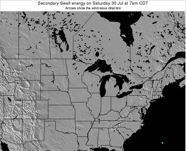 Wisconsin Secondary Swell energy on Tuesday 29 Jul at 7am CDT