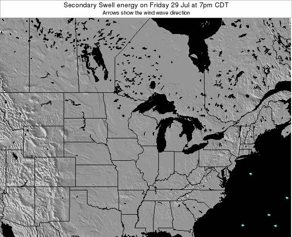 Wisconsin Secondary Swell energy on Friday 12 Feb at 6pm CST