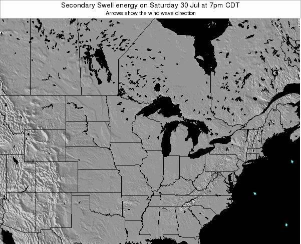 Wisconsin Secondary Swell energy on Sunday 16 Mar at 1pm CDT