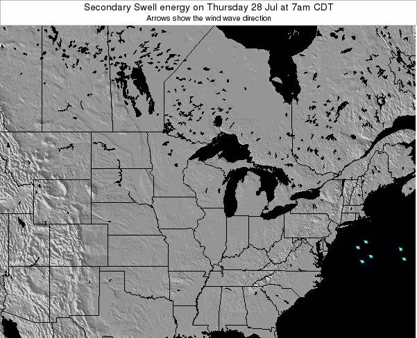 Michigan Secondary Swell energy on Thursday 24 Apr at 1pm CDT