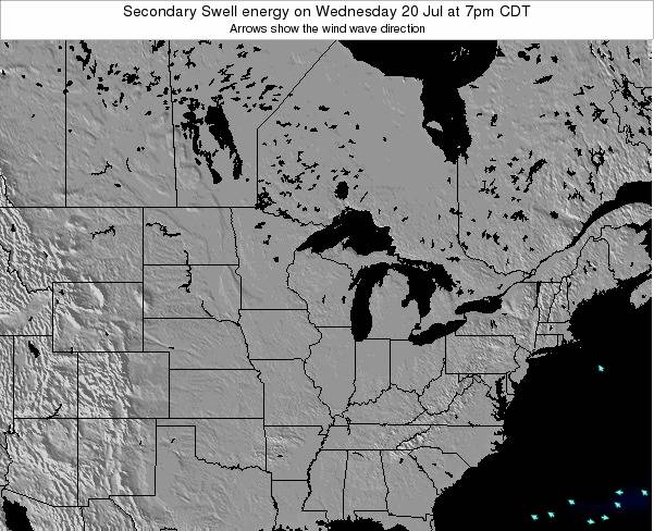 Wisconsin Secondary Swell energy on Monday 20 May at 7am CDT
