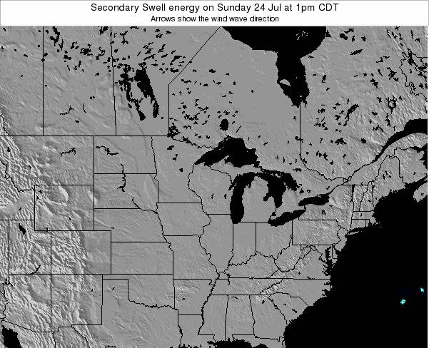 Wisconsin Secondary Swell energy on Thursday 21 Aug at 1pm CDT