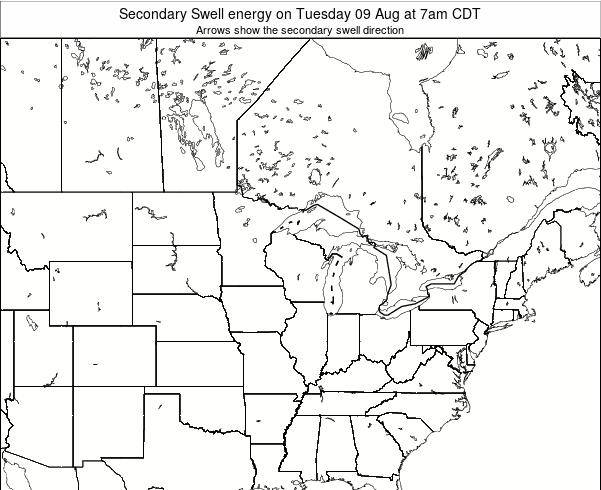 Wisconsin Secondary Swell energy on Sunday 27 Apr at 7pm CDT