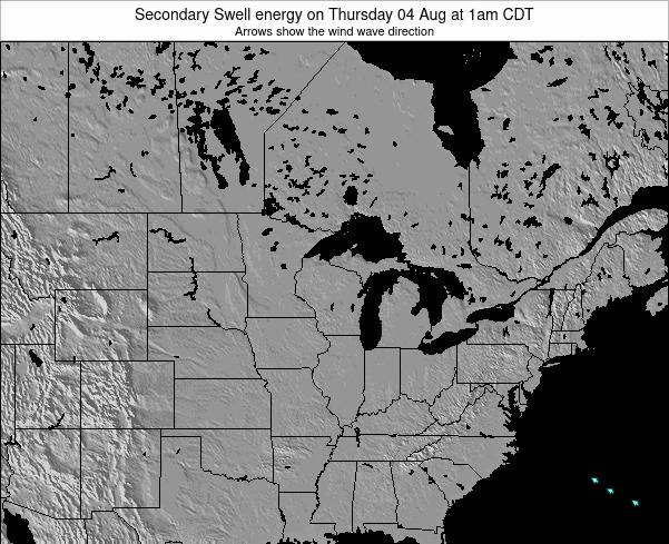 Wisconsin Secondary Swell energy on Saturday 25 May at 1pm CDT