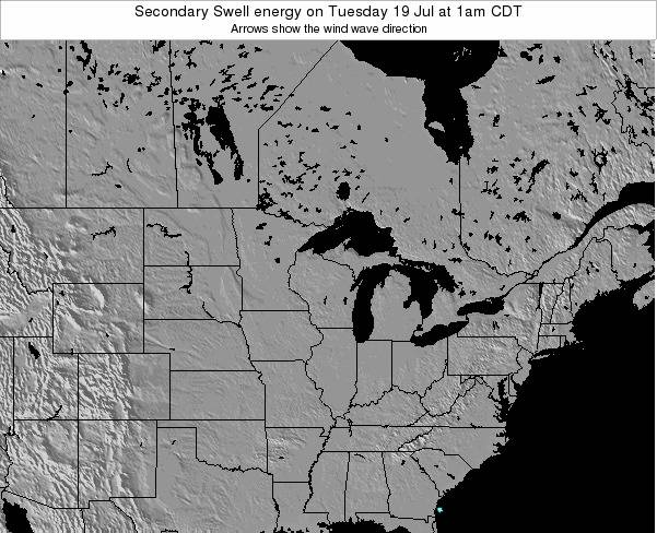 Michigan Secondary Swell energy on Monday 26 Feb at 6pm CST map