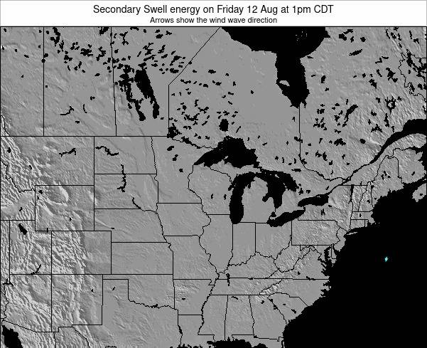 Wisconsin Secondary Swell energy on Tuesday 05 Aug at 1pm CDT