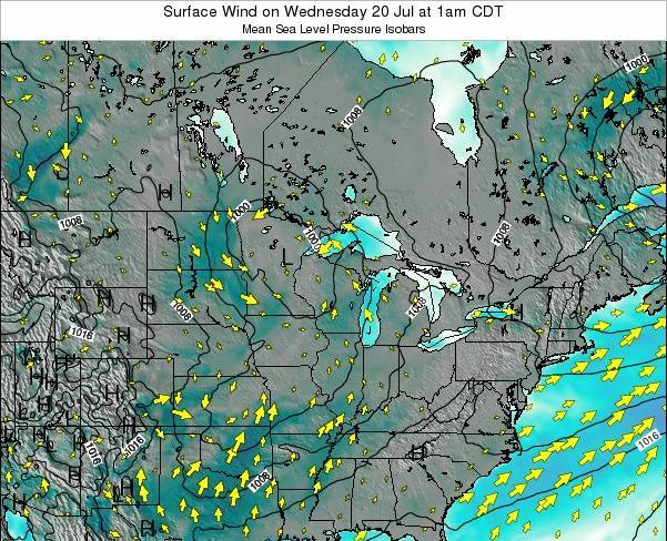 Wisconsin Surface Wind on Sunday 20 Apr at 7am CDT