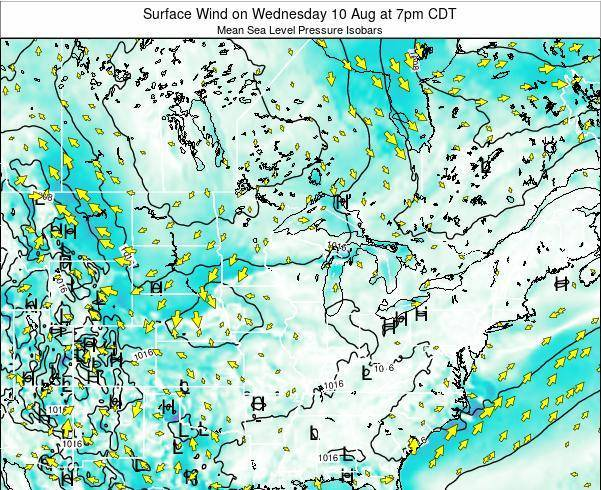 Wisconsin Surface Wind on Tuesday 29 Jul at 7am CDT
