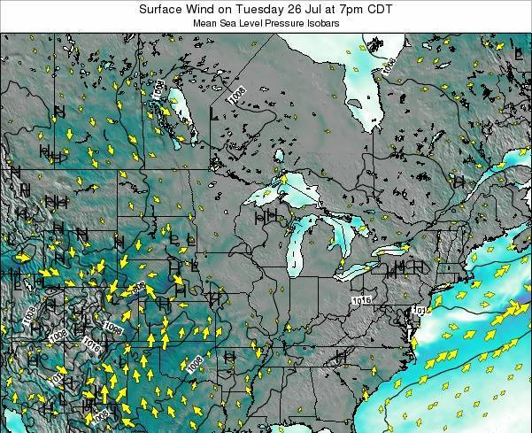 Wisconsin Surface Wind on Saturday 29 Nov at 6pm CST