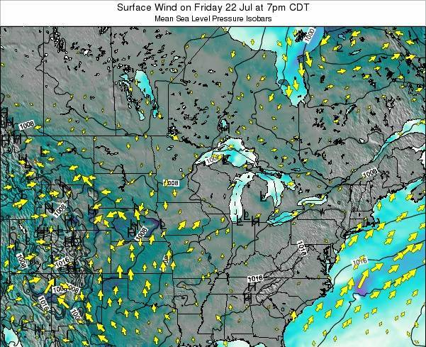 Wisconsin Surface Wind on Thursday 13 Mar at 7am CDT