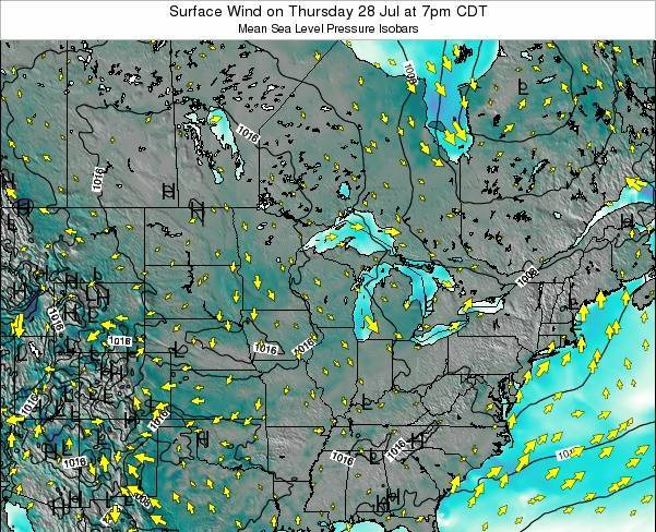 Wisconsin Surface Wind on Sunday 02 Jul at 1am CDT
