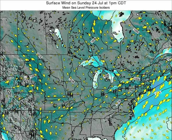 Wisconsin Surface Wind on Tuesday 29 Apr at 7am CDT