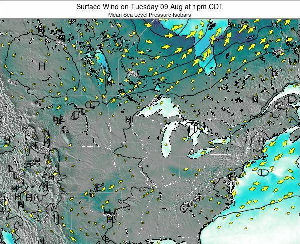 Wisconsin Surface Wind on Saturday 06 Sep at 7am CDT